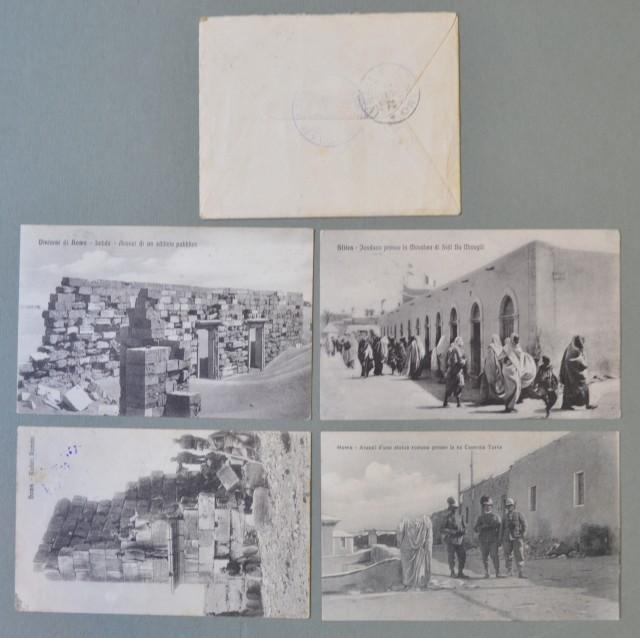 Storia postale Regno. GUERRA DI LIBIA. Insieme formato da una lettera (mantenuta la corrispondenza) del 1912 e da quattro cartoline (Giugno - Novembre 1915) spedite da HOMS.