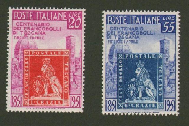Repubblica Italiana. Centenario francobolli di Toscana (Sassone serie 145).