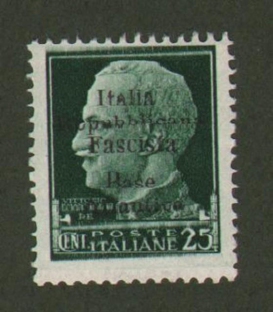 Regno d'Italia. BASE ATLANTICA. Cent. 25 verde soprastampato (Sassone n. 9) nuovo con gomma integra.