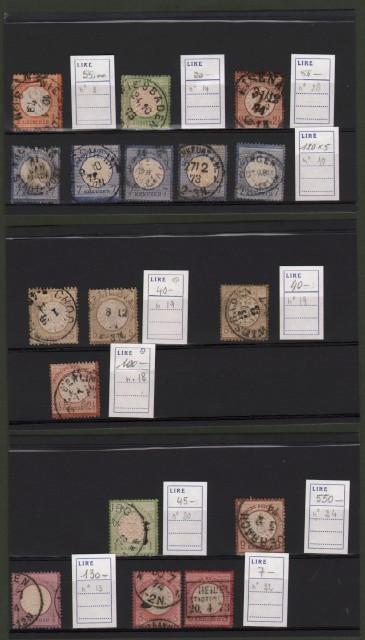 GERMANIA REICH. Insieme di francobolli usati: numeri 3, 10 (cinque pezzi), 13, 14, 18, 19 (tre pezzi), 20, 22, 24, 28.