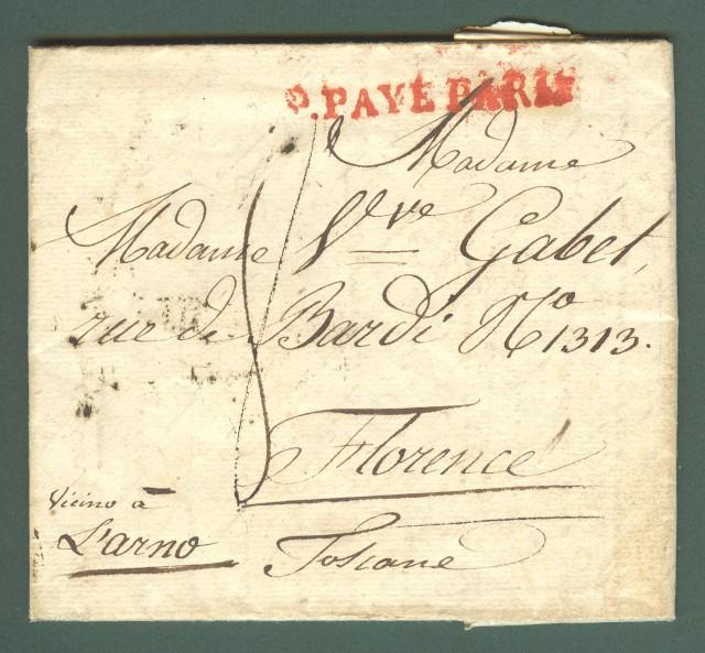 Prefilatelia. TOSCANA - FRANCIA. P. PAYE PARIS bollo rosso su lettera del 5 Dicembre 1829 per Firenze.