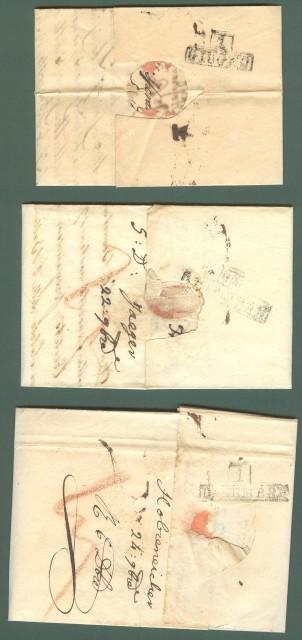 Prefilatelia. TOSCANA - AUSTRIA. Tre lettere (due da Triste ed una da Vienna) del 1825/26 per Firenze.
