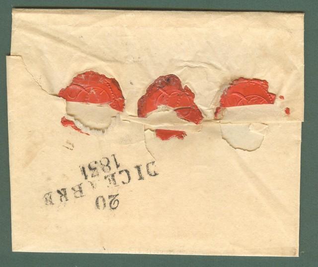 Prefilatelia. TOSCANA. PER CONSEGNA, bollo nero su lettera da Livorno del Dicembre 1831.