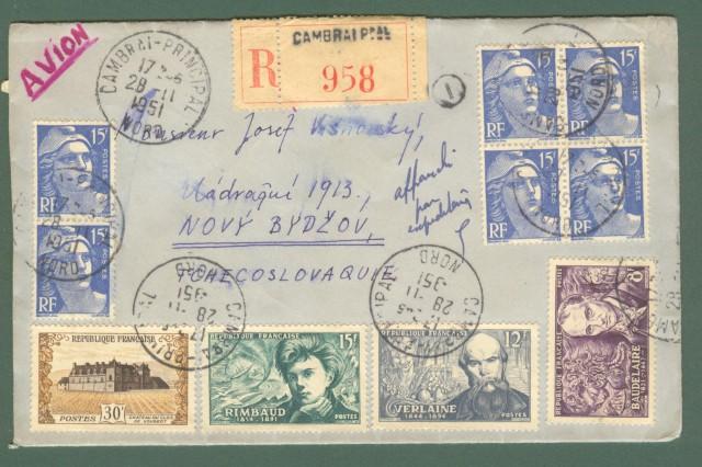 Storia postale estero. FRANCIA, FRANCE. Lettera del 1951 per la Cecoloslovacchia.