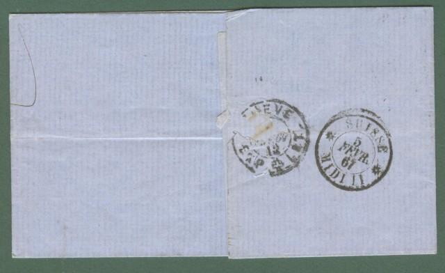 Storia postale estero. BELGIO. BELGIUM. Letter of 1867 for Geneve (Switz erland).