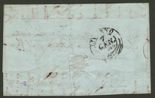 Prefilatelica. TOSCANA. Firenze d.c. + P.D. in cartella Lettera del 8.1.1845 per Livorno.