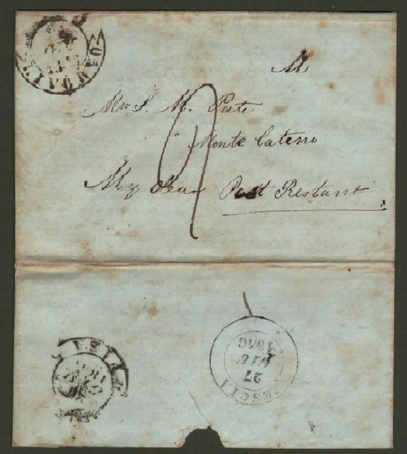 Prefilatelica. TOSCANA. RISPEDITA. Lettera del 25.6.1846 da Livorno a M. Catini e rispedita a Pisa.