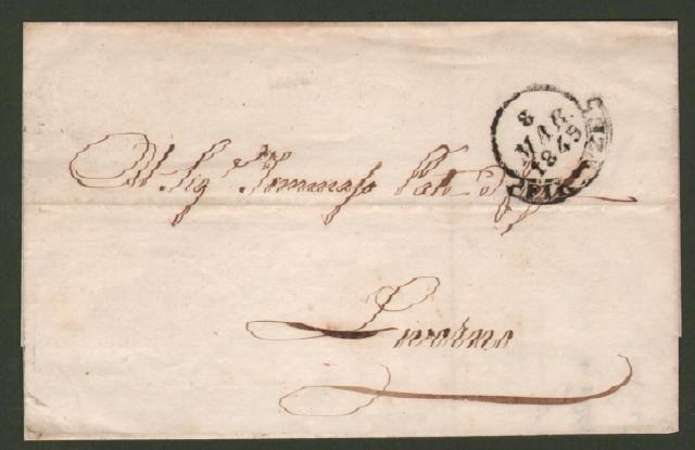 Prefilatelica. TOSCANA. Lettera del 8 marzo 1845 da Firenze a Livorno.