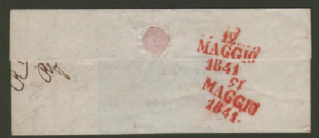 Prefilatelica. TOSCANA. Lettera del 1844 da Firenze a Livorno.