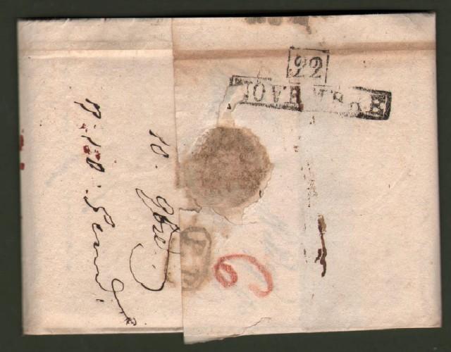 Prefilatelica. Toscana. CONTROBOLLO in rosso su lettera del 10 novembre 1825 da Wildegg in Svizzera per Firenze.