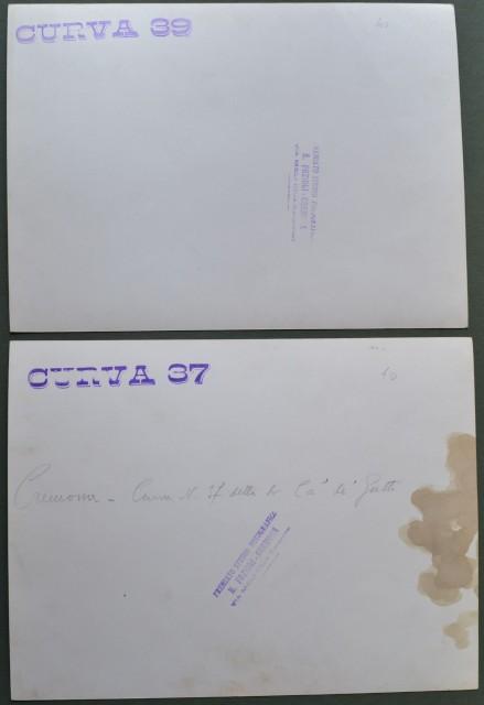 FIUME PO. Cremona. Due foto (ciascuna di cm 26x20) dello studio Ernesto Fazioli di Cremona e databili all'inizio degli anni 1950. Mostrano la CURVA 39 e la CURVA 37, presso Cremona, detta di Cà de' Gatti