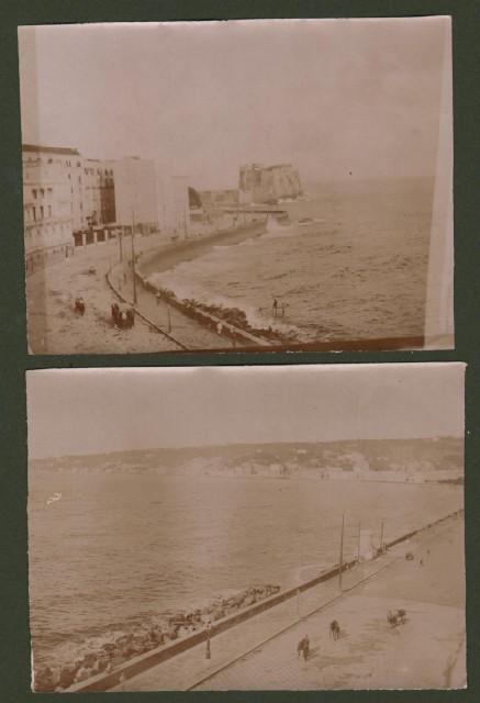 NAPOLI. 2 foto inizio '900 di cm 10x7,5: 1) Castel dell'Ovo da Via Partenope. 2) Via Caracciolo e via Posillipo da via Partenope. Datate 1904.