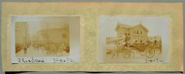 FERRARA. 2 foto formato cartolina (cm 13x9) stampate all'albumina raffiguranti il Re a Ferrara nel giugno del 1910.