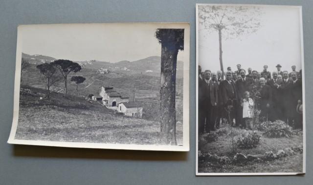 VALLE DEL BISENZIO. Prato. Due fotografie anni '30: 1) Veduta panoramica. 2) Gruppo di persone ad una festa.