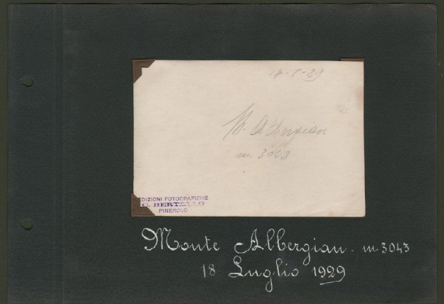 ALPI COZIE. Provincia di Torino. Colle Assietta (3 foto del 1927 di cm 9x6,5) e Monte Albergian (5 foto del 1929 di cm 8,5x13 e cm 11x8).