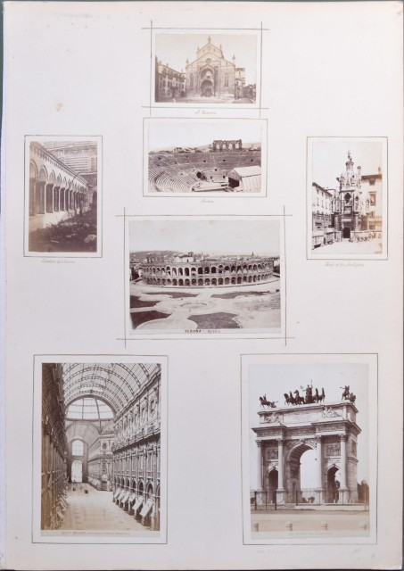 VERONA - MILANO. 7 foto d'epoca (circa 1870, tecnica dell'albumina).