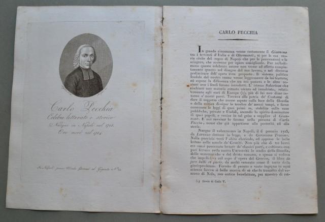 REGNO DI NAPOLI. Campania. CARLO PECCHIA, nato a Napoli nel 1715, ivi morì nel 1784. Celebre letterato e storico.