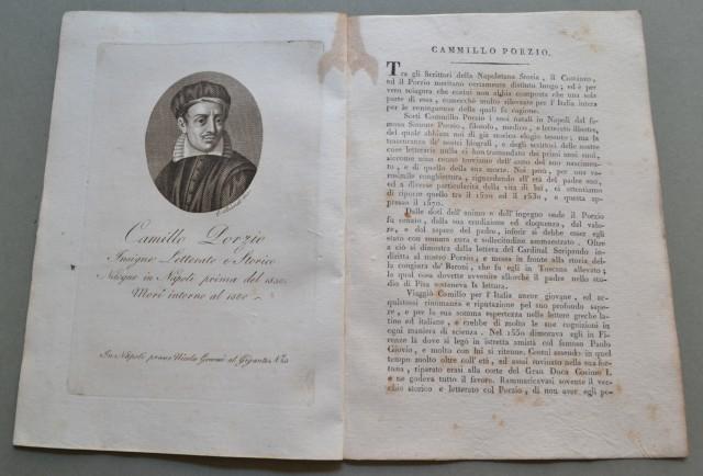 REGNO DI NAPOLI. Campania. CAMILLO PORZIO, nato a Napoli prima del 1530, morì attorno al 1580. Celebre letterato e storico.