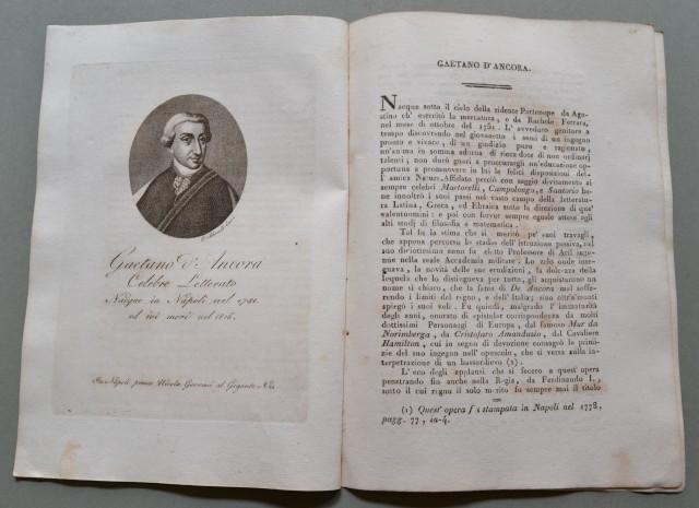 REGNO DI NAPOLI. Campania. GAETANO D'ANCORA, nato a Napoli nel 1751, ivi morì nel 1816. Celebre letterato.
