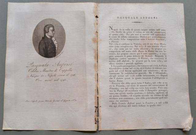 REGNO DI NAPOLI. Campania. PASQUALE ANFOSSI, nato a Napoli nel 1736, ivi morì nel 1795. Celebre Maestro di Cappella.