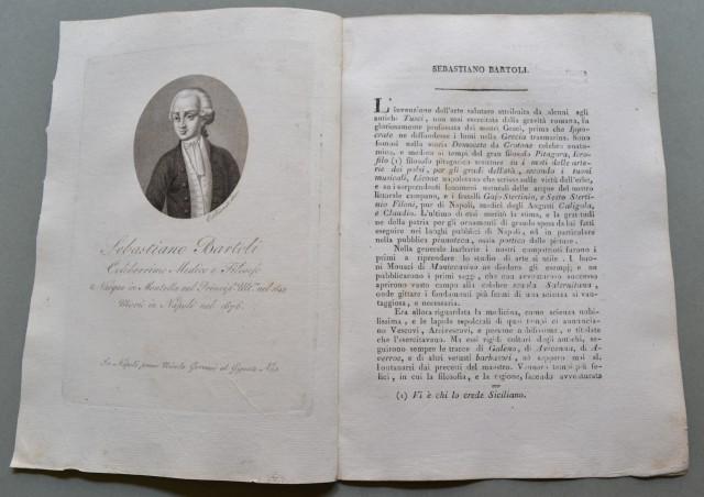 REGNO DI NAPOLI. Campania. SEBASTIANO BARTOLI, nato a Mantella (Avellino) nel 1635, morì a Napoli nel 1676. Celebre medico e filosofo.