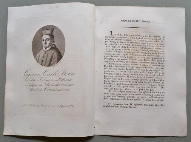 REGNO DI NAPOLI. Puglia. GIOVAN CARLO BOVIO, nato a Brindisi nel 1501, morì a Ostuni nel 1570. Celebre teologo e letterato.