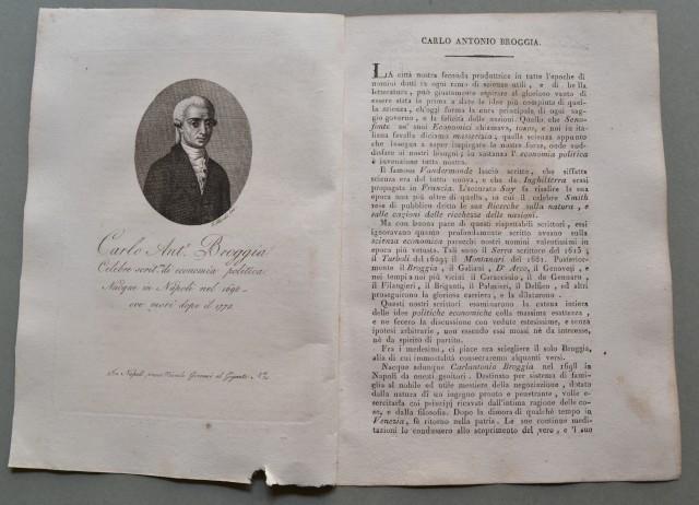 REGNO DI NAPOLI. Campania. CARLO ANTONIO BROGGIA, nato a Napoli nel 1698, ivi morì dopo il 1775. Celebre scrittore di economia politica.