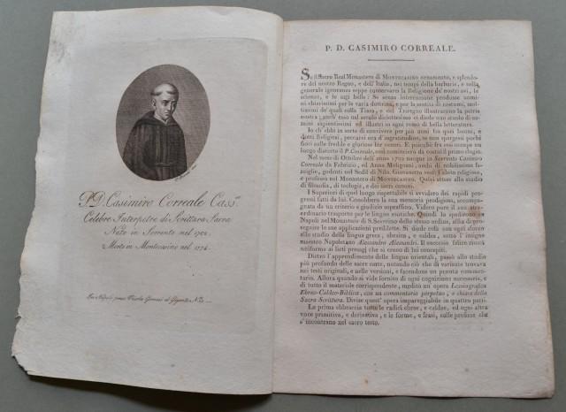 REGNO DI NAPOLI. Campania. P.D. CASIMIRO CORREALE, nato a Sorrento (Napoli) nel 1702, morì a Montecasino nel 1774. Celebre interprete di scrittura antica.