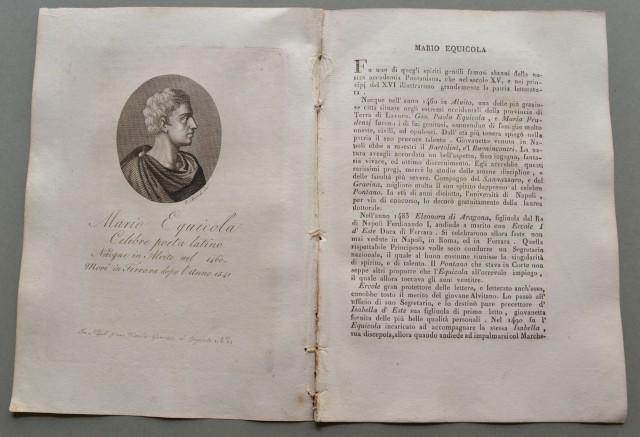 REGNO DI NAPOLI. Lazio. MARIO EQUICOLA, nato a Alvito (Frosinone)nel 1460, morì a Ferrara nel 1541. Celebre poeta latino.
