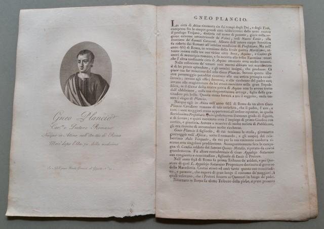 REGNO DI NAPOLI. Lazio. GNEO PLANCIO, nato e morto ad Atina (Frosinone). Cavaliere e pretore romano.
