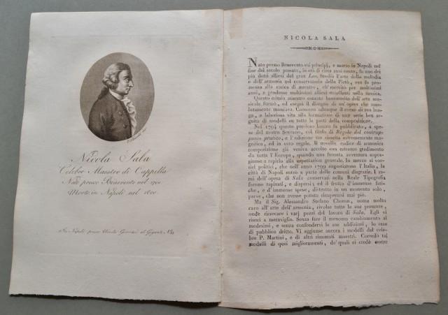 REGNO DI NAPOLI. Campania. NICOLA SALA, nato a Benevento nel 1701, morì a Napoli nel 1800. Celebre Maestro di Cappella.