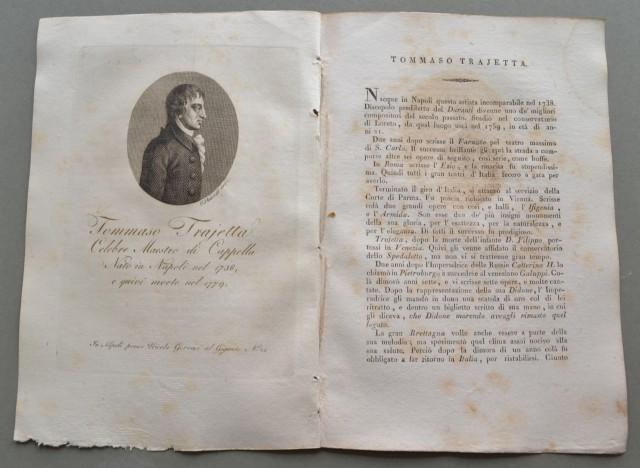 REGNO DI NAPOLI. Campania. TOMMASO TRAJETTA, nato a Napoli nel 1738, ivi morì nel 1779. Celebre maestro di Cappella.