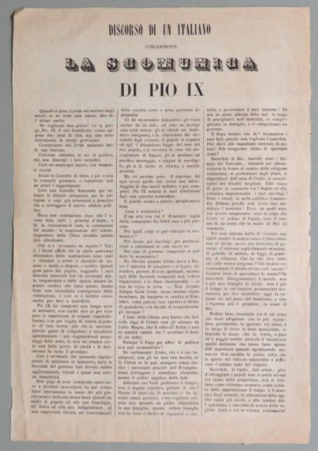 Risorgimento italiano. DISCORSO DI UN ITALIANO CONCERNENTE LA SCOMUNICA DI PIO IX.