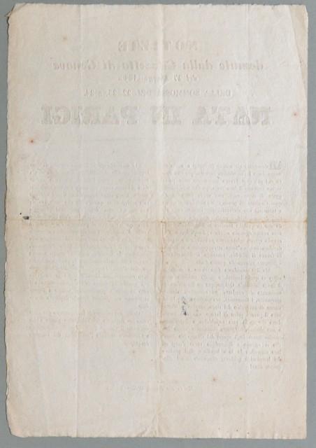 Francia '– rivolta del 1848. NOTIZIE desunte dalla Gazzetta di Genova del 27 Maggio 1848. DELLA SOMMOSSA DEL 22, 23 E 24 NATA IN PARIGI
