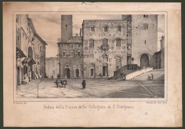 Siena. SAN GIMIGNANO. Veduta della Piazza della Collegiata di S. Gimignano.