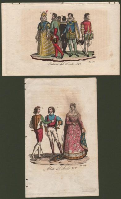 COSTUMI ITALIANI. Abiti del secolo XIV e XVII. Due tavole.