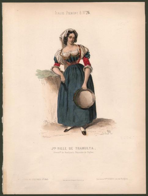 BASILICATA, Tramulta. J.ne fille de Tramulta. Fanciulla in tipico costume con in mano un tamburello.