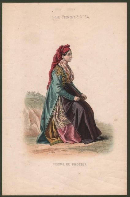 CAMPANIA, Procida. Femme de Procida. Giovane donna in abito tradizionale.