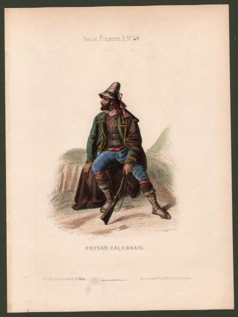 CALABRIA. Paysan Calabrais. Giovane uomo in costume tipico con un fucile.