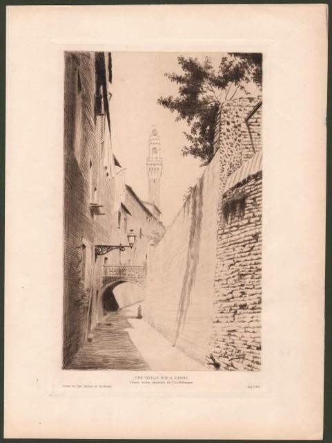 SIENA. Une vieille rue a Sienne. Puntasecca originale di V. Lochelongue di mm 140x222 (ai margini 220x304).