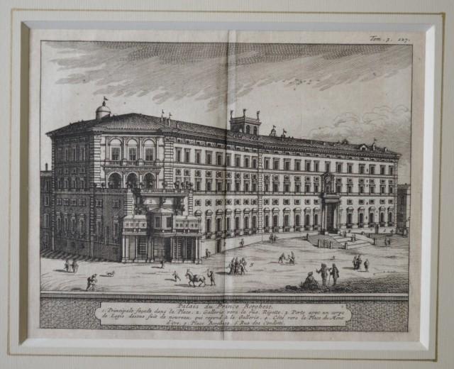 ROMA. Veduta del 1707. Palais du Prince Borghese. Bella acquaforte tratta dall'opera di De Rogissart, Les delices de l'Italie.