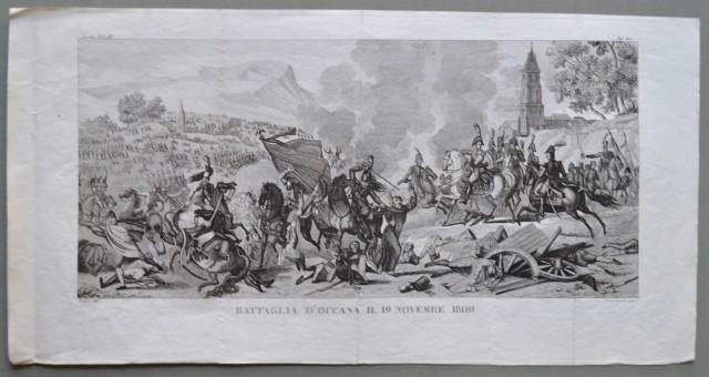 NAPOLEONE. BATTAGLIA D'OCCANA IL 19 NOVEMBRE 1809. Grande incisone all'acquaforte di Dineman su disegno di Rochin. Circa 1840.