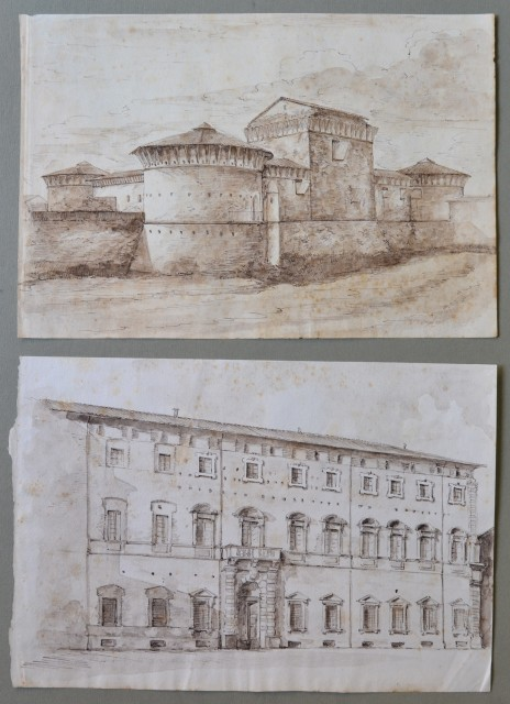EMILIA ROMAGNA '– FORLI''. Insieme di due disegni a china con scorci della città.