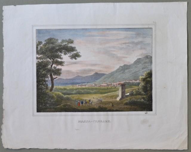 TOSCANA. Massa Carrare. Veduta generale, la città sullo sfondo con viandanti in primo piano. Bella litografia di produzione francese colorata all'epoca.