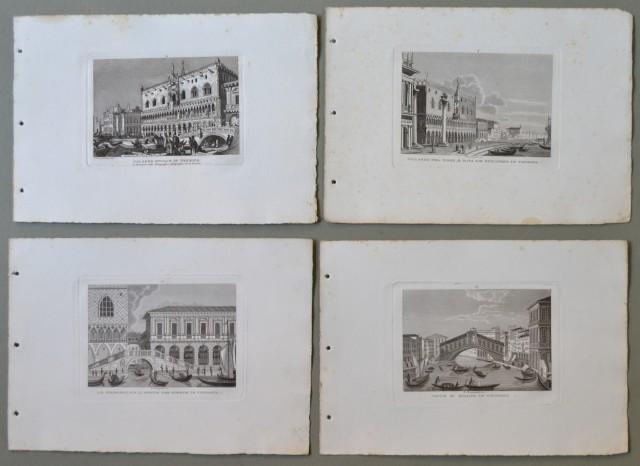 VENETO '– VENEZIA. Disponiamo di 4 rare vedute tratte dall''opera Vedute principali d''Italia.Tutte decorative e con bella animazione.