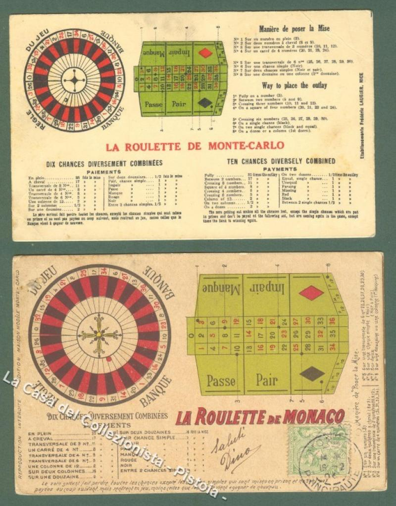 ROULETTE. Due cartoline d'epoca.