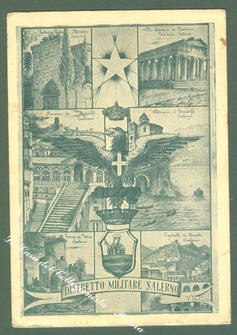 Campania. SALERNO. DISTRETTO MILITARE SALERNO. Cartolina d'epoca...