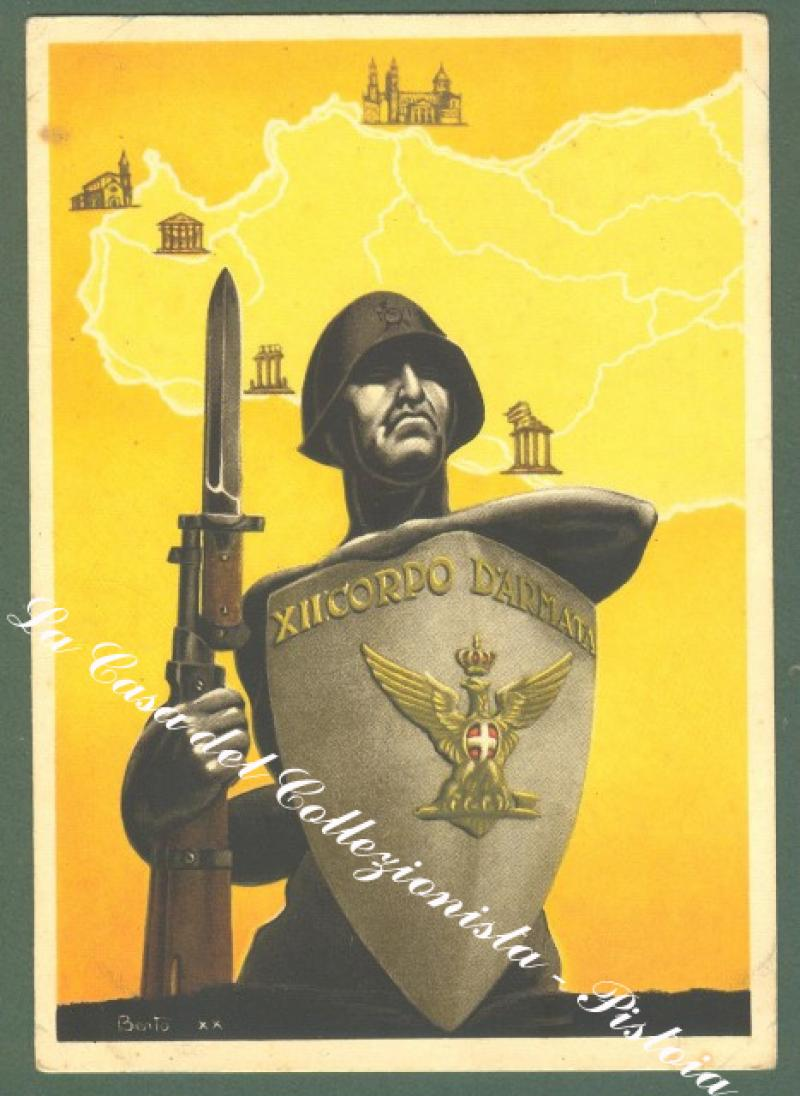 XII CORPO D'ARMATA. Cartolina postale in franchigia illustrata...