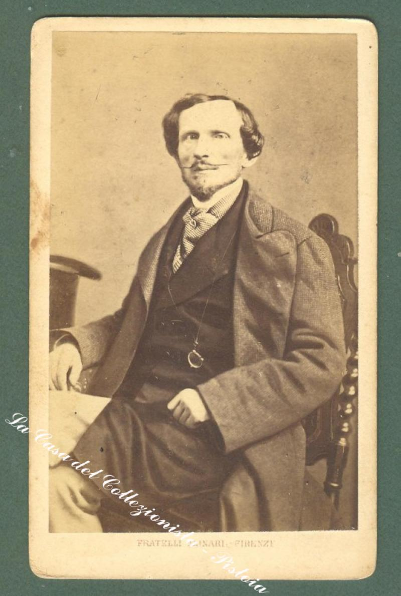 RICASOLI BETTINO (1809 - 1880), uomo politico. Foto d'epoca all'albumina. Studio Alinari.