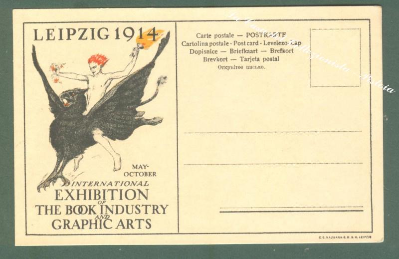 LEIPZIG 1914. International exhibition of the book industry and graphic arts. Cartolina d'epoca pubblicitaria...